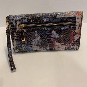 NEW Tory Burch trifold multi colored travel wallet